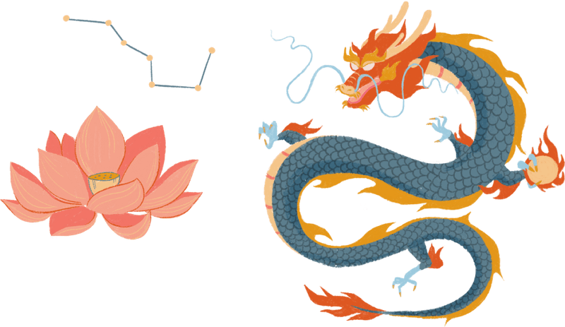 Symbols of East Asian religions, including a lotus flower, the Big Dipper constellation, and a dragon.