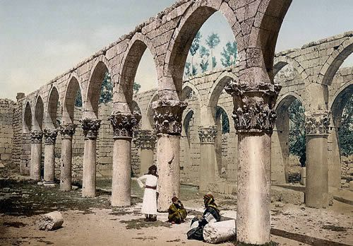 The Great Mosque of Baalbek: Colonnade of the Ruins of the Omayyad Mosque in Baalbek, Lebanon