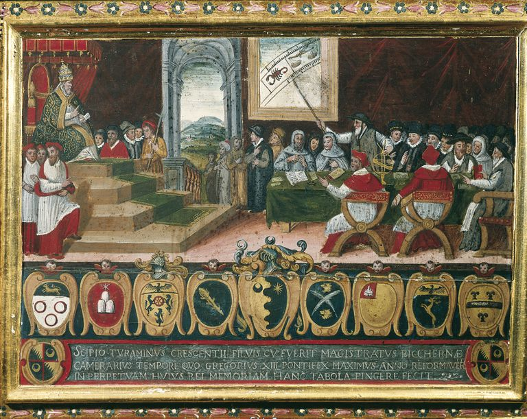 Illustration of Pope Gregory XIII chairing the commission for reforming the Roman Calendar