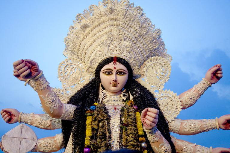 Idol Of Goddess Durga, Durga Pooja Dassera Vijayadasami Festival, Calcutta Kolkata, West Bengal, India