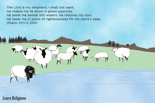 A group of sheep gathered by a body of water, with a blue sky above them and the following Bible verse superimposed over the scene: The Lord is my shepherd; I shall not want. He makes me lie down in green pastures. He leads me beside still waters. He restores my soul. He leads me in paths of righteousness for his name's sake. (Psalm 23:1-3, ESV)