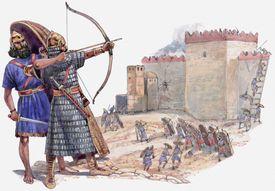 Assyrian army attacking Jerusalem under King Hezekiah