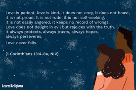Illustration of two people stargazing, with the text of 1 Corinthians 13:4-8a.