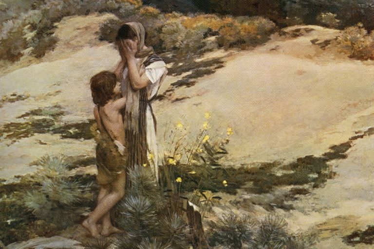 Ishmael and Hagar in the desert
