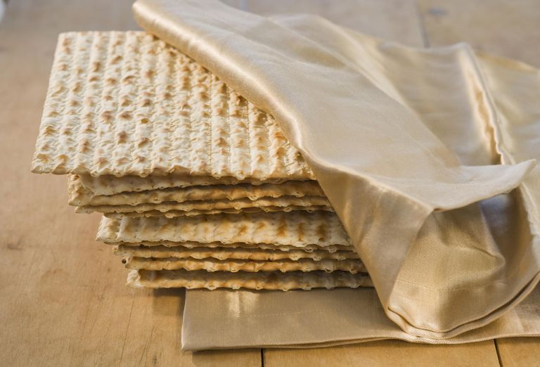 Matzo wrapped in napkin, close-up