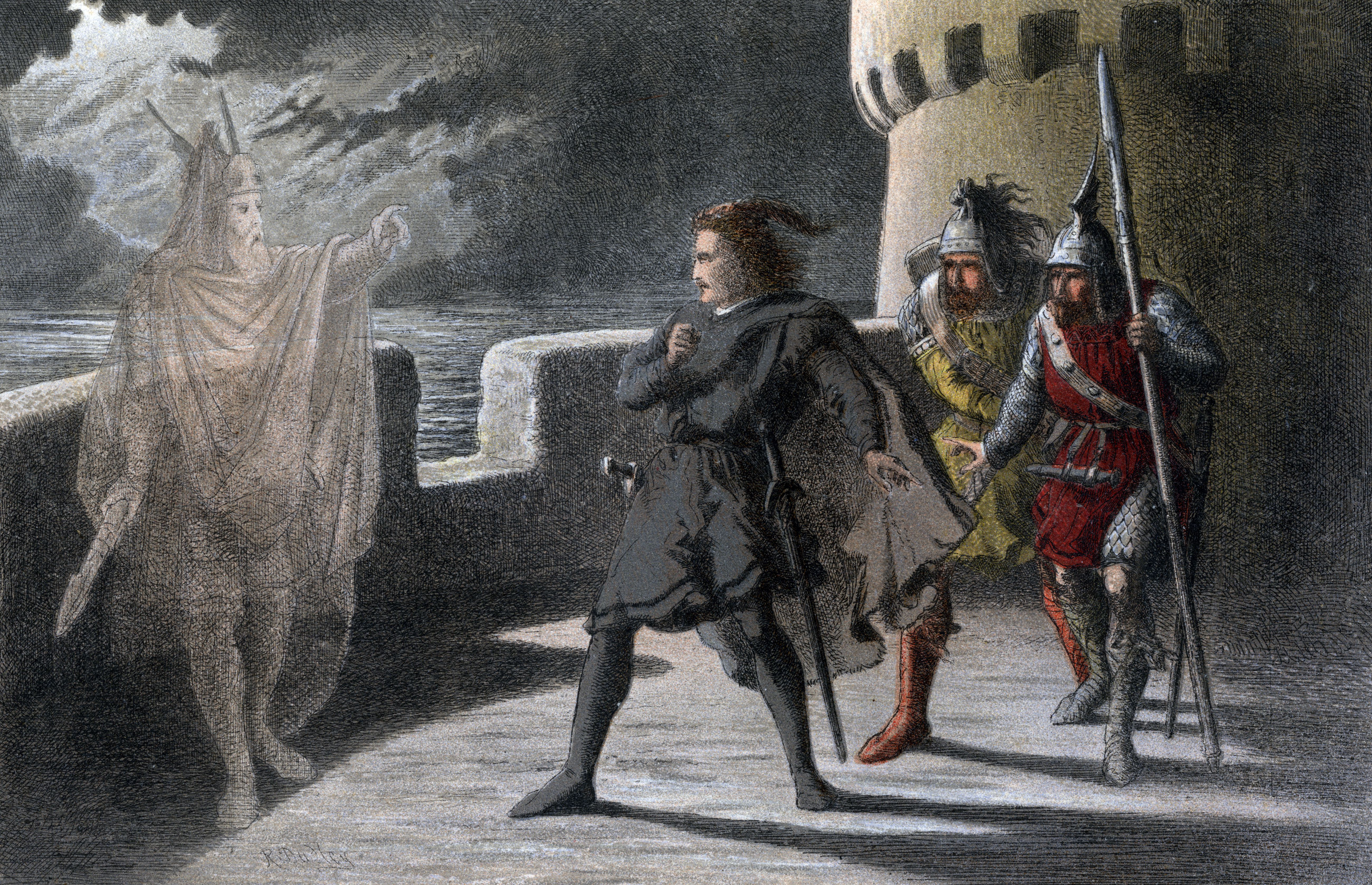 Illustration depicting the ghost of Hamlet's father appearing to him
