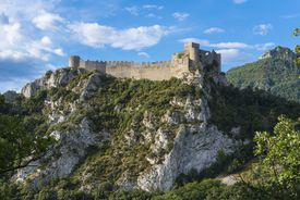 The Cathare castle of Puilaurens stands on a rocky outcrop