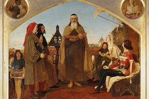 John Wycliffe (1324 -1384) reading his translation of the Bible to John of Gaunt, by Ford Madox Brown (1821 - 1893), 119.5x153.5 cm.
