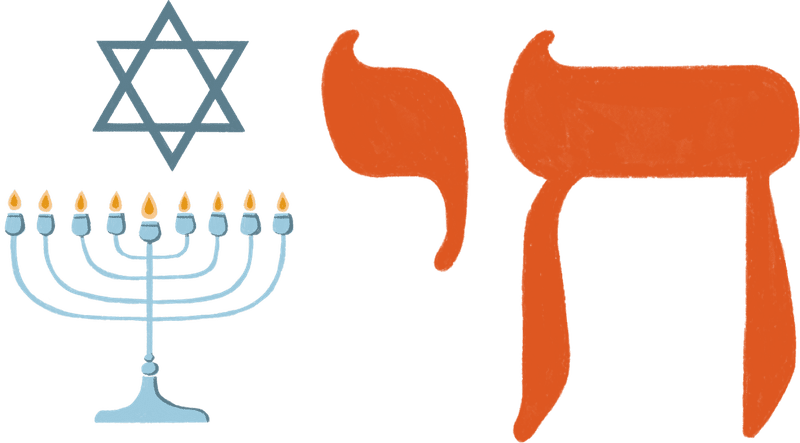 A Star of David, menorah, and chai symbol