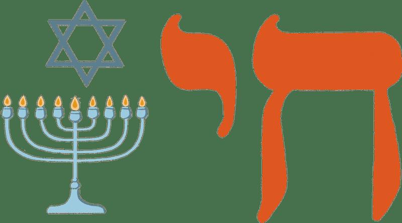 A Star of David, menorah, and chai symbol