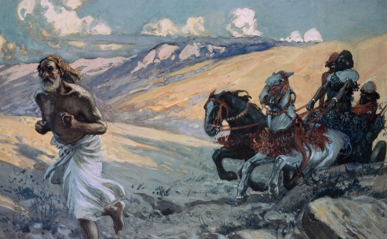 Elijah Runs Before the Chariot of Ahab, painting by James Tissot