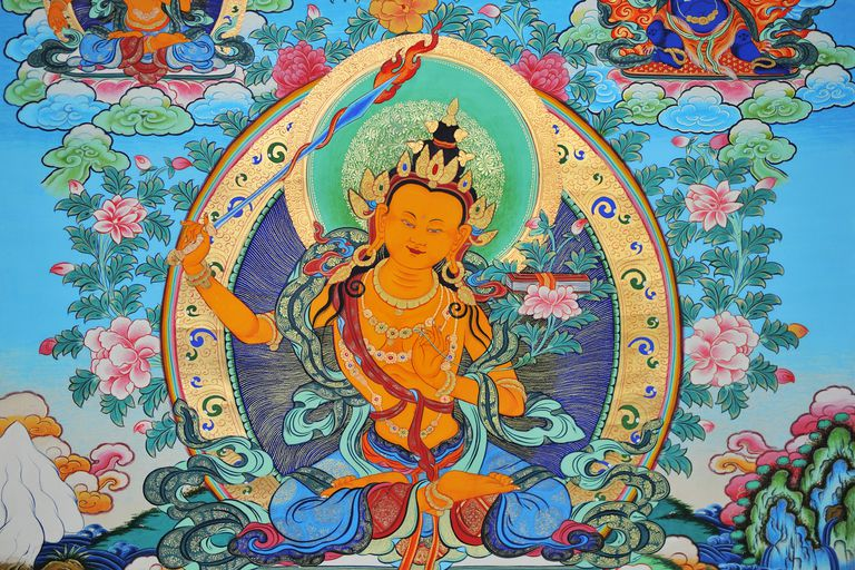 Tibetan Thangka painting of Manjusri