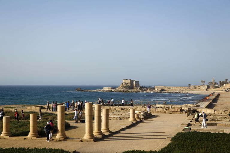 Herods Palace Ruins and the Hippodrome along the water in Caesarea, Israel