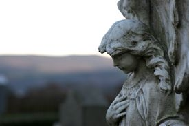 Close up of a statue of an angel.