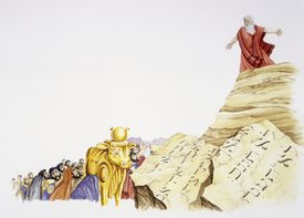 Moses dropping the commandment upon finding the Golden Calf.