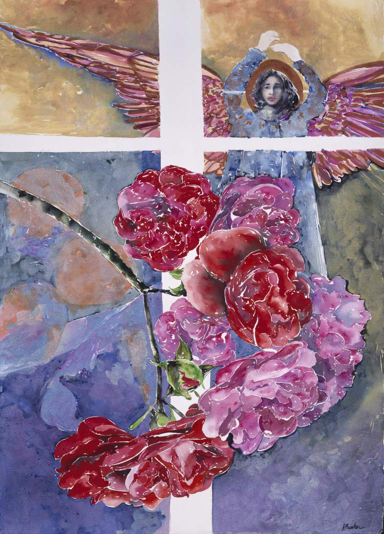 A painting of an angel with roses in the foreground