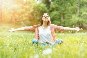Woman enjoying sunny spring day
