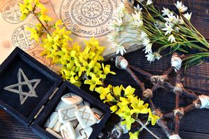 Box with runes, pentagram and flowers on green witch table.