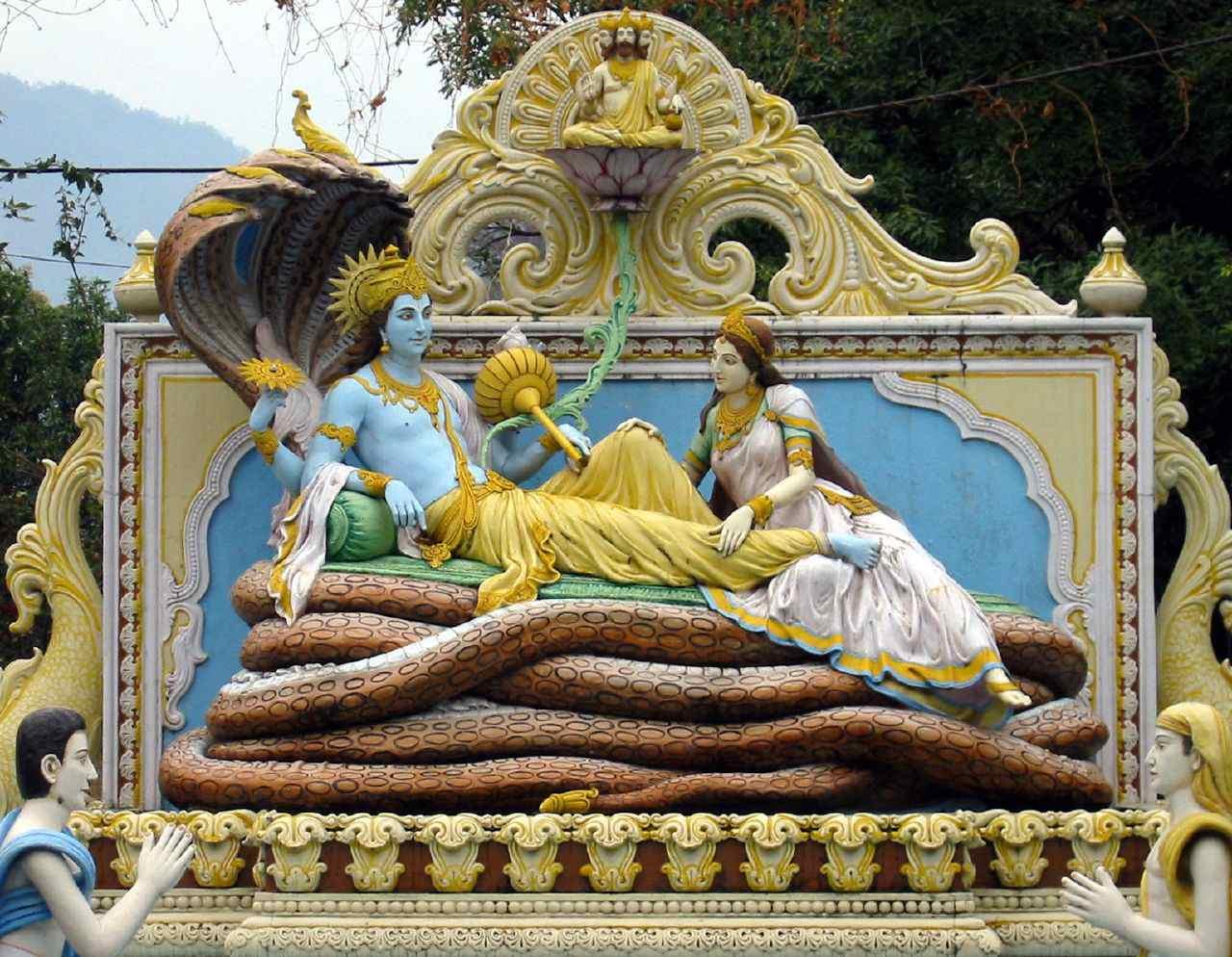 The Hindu God Vishnu with his consort Lakshmi resting on Sheshnag.