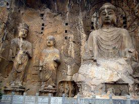 The large Vairocana Buddha with disciples Ananda and Kasyapa