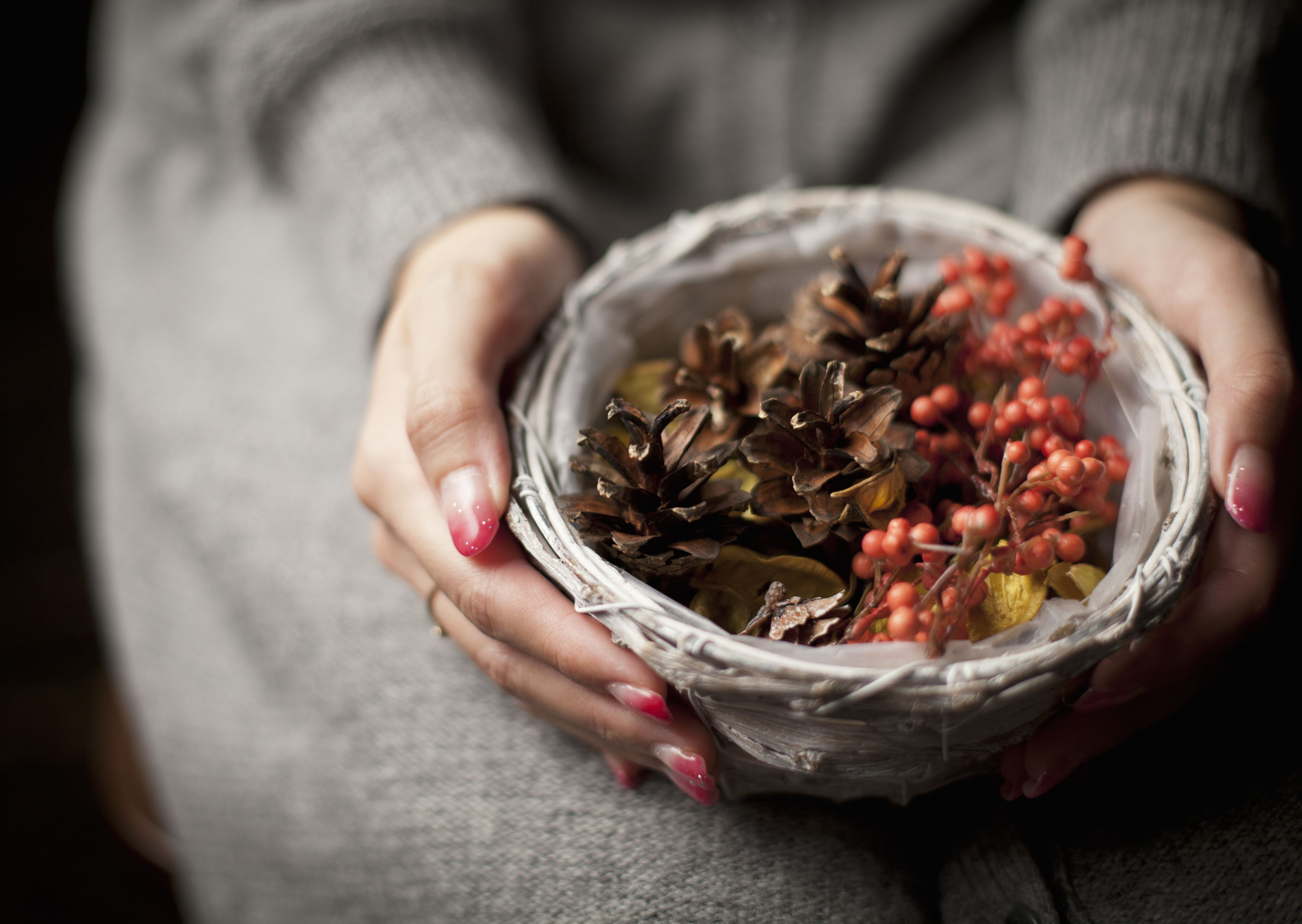 Woman holding a basket with pinecones and red berries