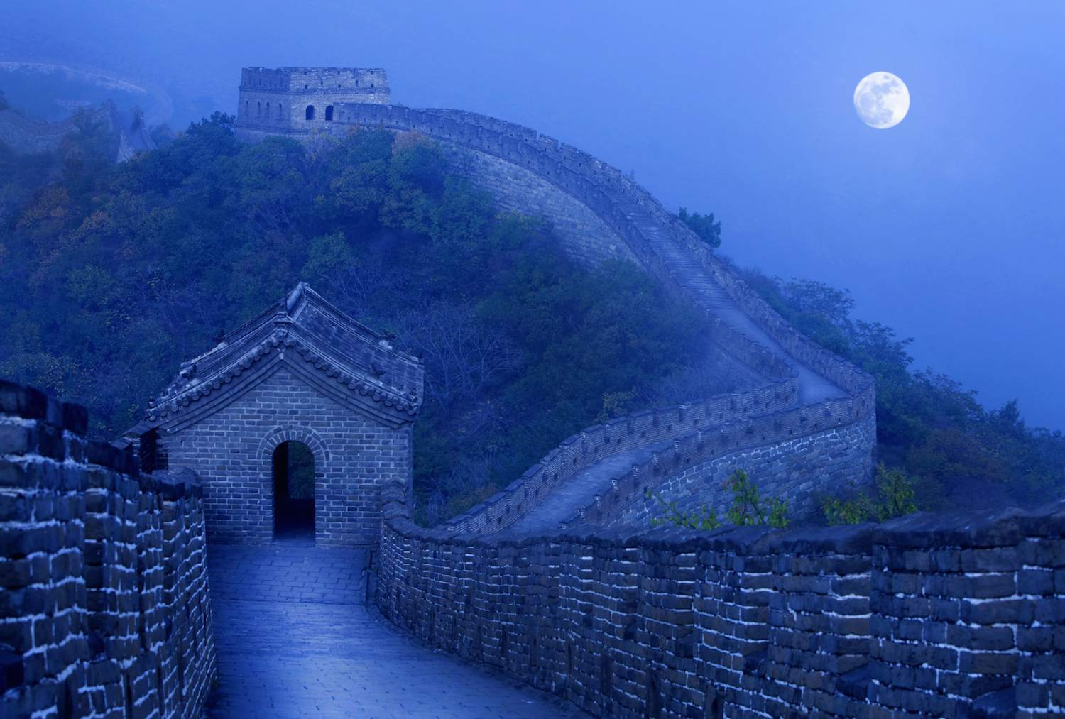 Great Wall of China in Moonlight