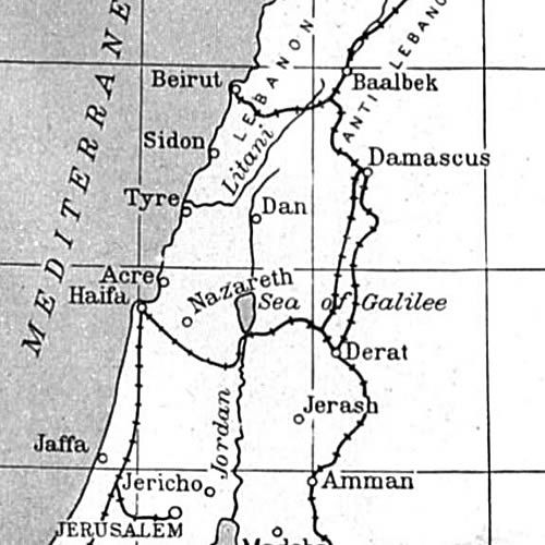 Map: Relative Locations of Jerusalem, Tyre, Sidon, Beirut in Modern Israel, Jordan, Syria, Lebanon