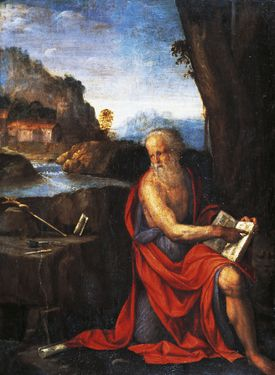 Painting of St Jerome pointing to a book, by Garofalo.