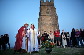 May Day Dawn Celebrations On Glastonbury Tor