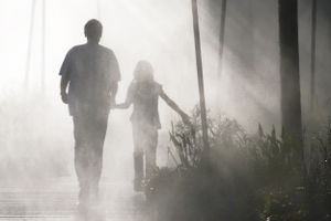 silhoutettes of a father and daughter walking away in the fog