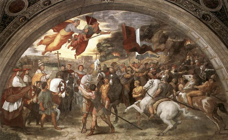 "Raffaello's painting ""The Meeting Between Leo the Great and Attila"""