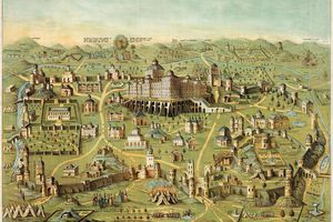 The ancient city of Jerusalem with Solomon's Temple