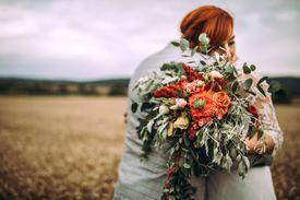 Bride & groom outdoors