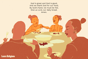 A family at a dinner table with the following prayer text: God is great and God is good, And we thank God for our food; By God's hand, we must be fed, Give us Lord, our daily bread. Amen.