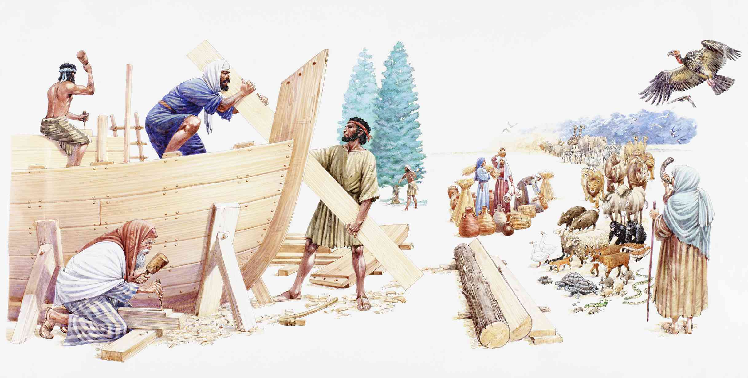 Noah and his sons building the Ark.
