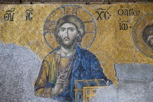 painting of Jesus on a church wall