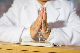 Close up of boy praying