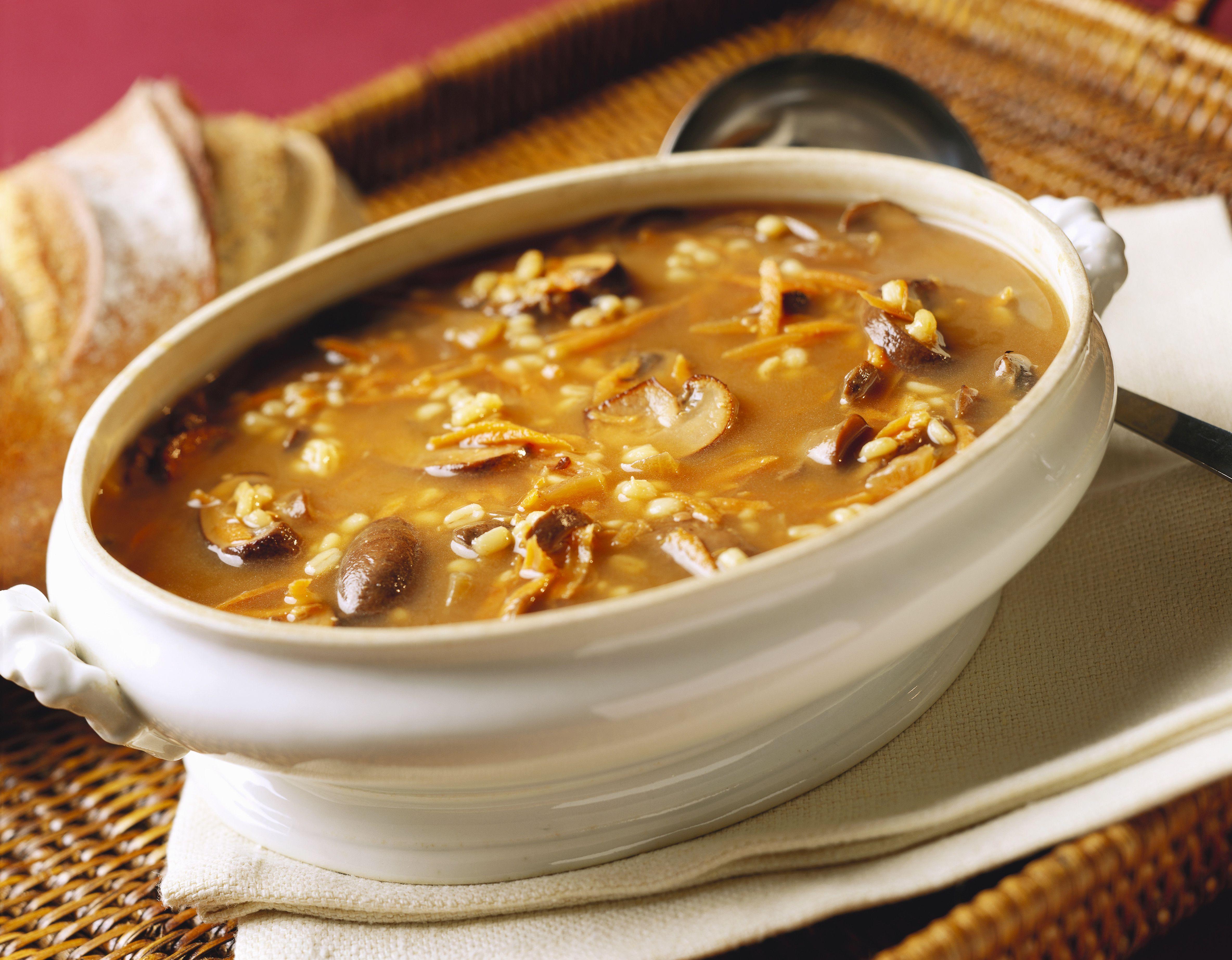 Mushroom Barley Soup in a White Tureen
