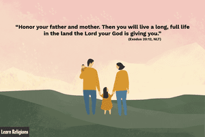 Illustration depicting a family beneath a quote from the Bible about family.