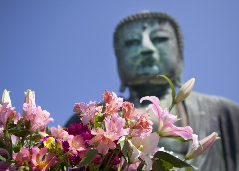 Giant Buddha of Kamakura and flowers