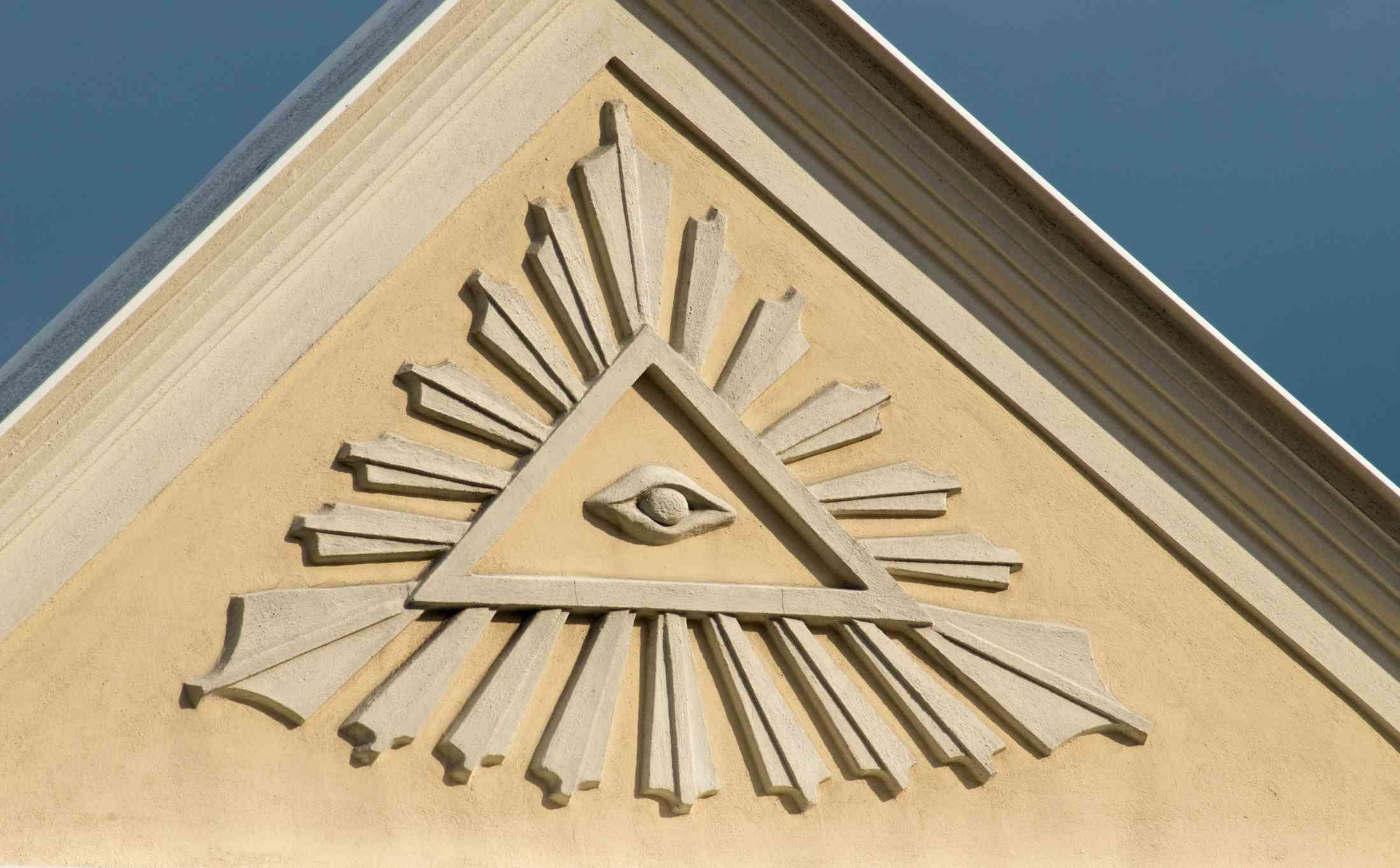 House gable front with Gods Eye, symbol of Eye of Providence, Stramberk, Stramberg, Moravian-Silesian Region, Czech Republic