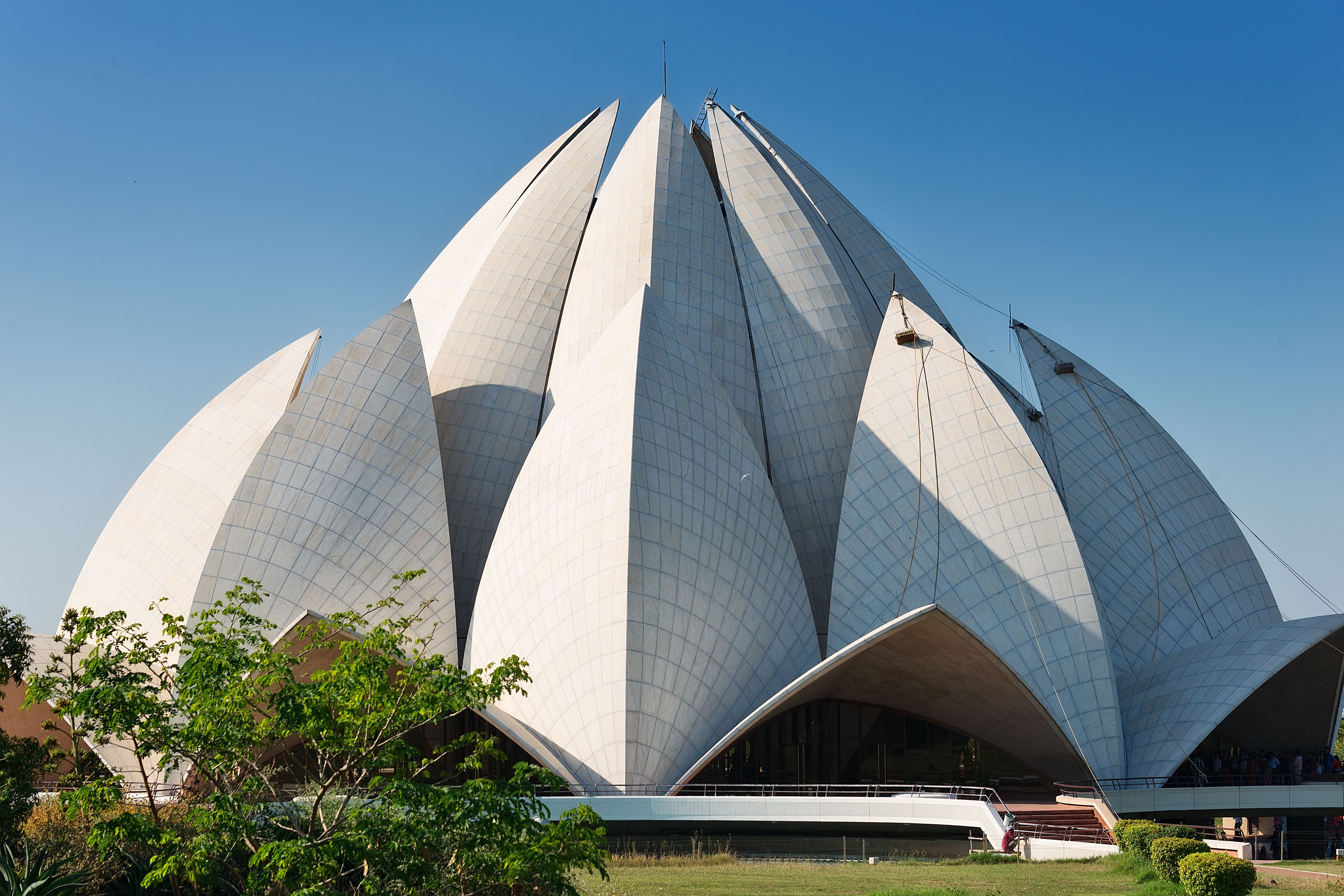 Bahai (Lotus) Temple on clear day in India