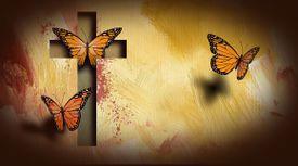 Christian cross setting reborn butterflies free background