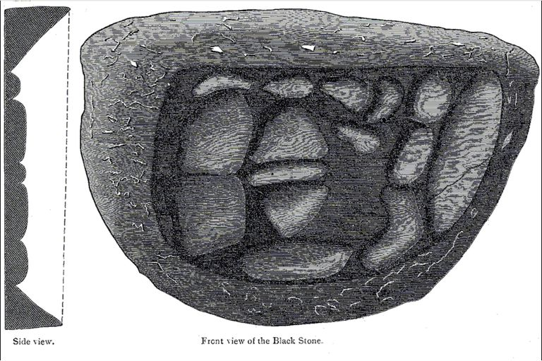 Illustration of the pieces of the black stone of mecca