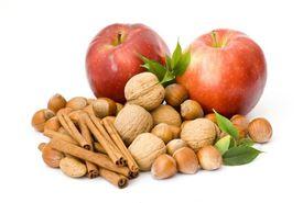 Apples, hazelnuts, walnuts, and cinnamon