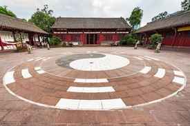 Yin yang made of stone at Taoist temple