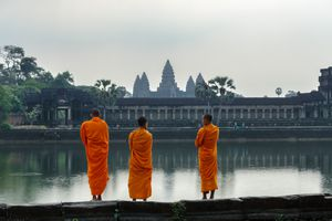 Buddhist monks in front of Angkor wat temple, Cambodia