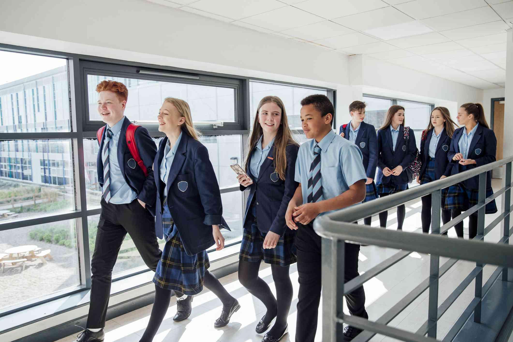 Students in private school uniforms