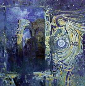 Painting of an angel near archways.