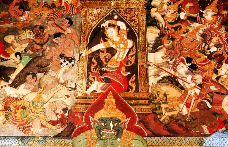 Mara and his temptations, detail from a mural in Wat Dusidaram, a temple in Bangkok, Thailand.